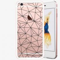 Apple iSaprio - Abstract Triangles 03 - black - iPhone 6 6S - Rose Gold
