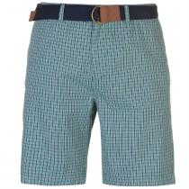 Pierre Cardin Pierre Cardin Check Belted Shorts Mens, Green Check, XXL