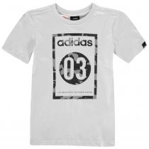 Adidas adidas 03 Camo QT T Shirt Junior Boys, LtGrey/Blk/Grey, 128