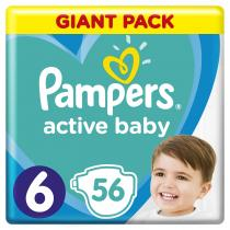 PAMPERS Plenky Active Baby-Dry 6 Extra Large 56ks